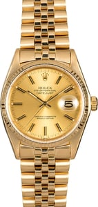 Rolex Datejust 16018 18K Yellow Gold