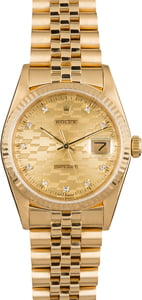 Rolex Datejust 16018 Yellow Gold Chevy Diamond Dial