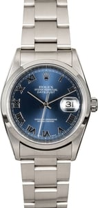 Genuine Rolex Datejust 16200 Blue Roman Dial TT