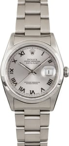 Pre Owned Rolex Datejust 16200 Rhodium Roman Dial