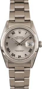 Used Rolex Datejust 16200 Rhodium Roman Dial