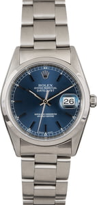 Pre Owned Rolex Datejust 16200 Blue Dial Steel Oyster