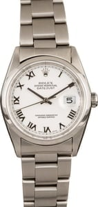 Pre-Owned Rolex Datejust 16200 White Roman Dial