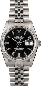 Men's Rolex Datejust 16220 Black Dial