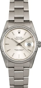 Certified Rolex Datejust 16220 Silver Index Dial