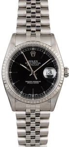 Rolex Datejust 16220 Black Dial Steel Jubilee