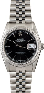 Rolex Datejust 16220 Steel Jubilee with Black Dial