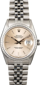 Men's Used Rolex Datejust 16220 Silver Index Dial