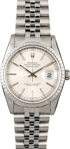Rolex Datejust 16220 Silver Tapestry Index Dial