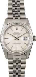 Used Rolex Datejust 16220 Silver Tapestry Dial