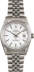 Used Rolex Datejust 16220 White Index Dial