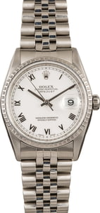 Pre Owned Rolex Steel Datejust 16220 White Roman