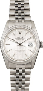 Pre Owned Rolex Datejust 16220 Silver Tapestry Dial