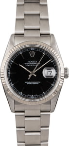 Pre Owned Rolex Datejust 16220 Black Dial Steel Oyster