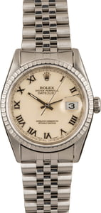 Pre-Owned Rolex Datejust 16220 Ivory Roman Dial
