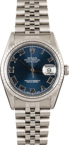 Rolex Steel Datejust 16220 Blue Dial