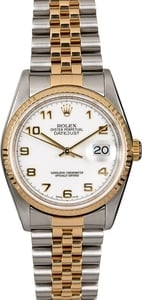 Men's Rolex Datejust 16233 White Arabic