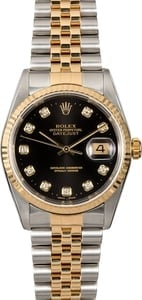 Certified Rolex Datejust 16233 Black Diamond Dial