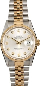 Genuine Rolex Datejust 16233 Silver Diamond Dial