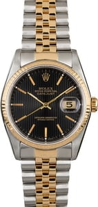 Certified Rolex Datejust 16233 Black Tapestry Dial