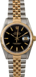 Rolex Datejust 16233 Two Tone Jubilee Black Dial
