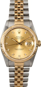 Rolex Datejust 16233 Champagne Dial with Diamonds
