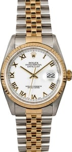Rolex Datejust 16233 White Roman Dial Two Tone