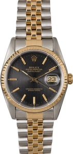 Men's Rolex Datejust 16233 Black Tapestry Dial