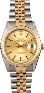 Certified Rolex Datejust 16233 Champagne Dial