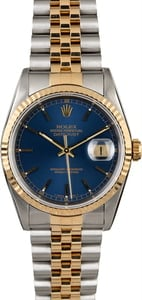Certified Rolex Datejust 16233 Blue Dial