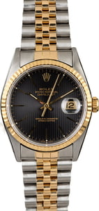 PreOwned Rolex Datejust 16233 Black Tapestry Dial