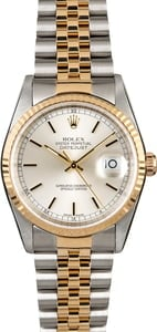 Men's Rolex Datejust 16233 Silver Index Dial