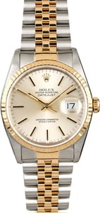 Two Tone Rolex Datejust 16233 Silver Index Dial