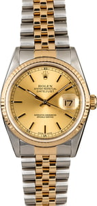 Men's Two Tone Rolex Datejust 16233 Champagne Dial