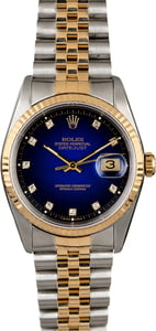 Rolex Datejust 16233 Blue Vignette with Diamonds