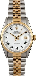 Certified Rolex Datejust 16233 White Roman