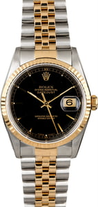 PreOwned Rolex Datejust 16233 Black Index Dial