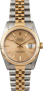 Certified Rolex Datejust 16233 Champagne Tapestry