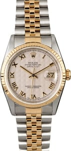 Two Tone Rolex Datejust 16233 Ivory Pyramid Dial