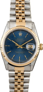 PreOwned Rolex Datejust 16233 Blue Dial Men's Watch