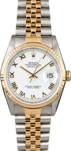 Two Tone Rolex Datejust 16233 White Roman Dial