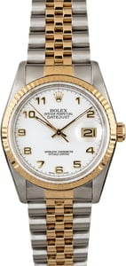 Rolex Datejust 16233 White Arabic Dial