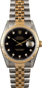 Rolex Datejust 16233 Black Dial with Diamonds