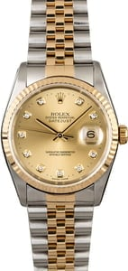 Rolex Datejust 16233 Diamond Hour Markers