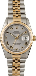 Men's Rolex Datejust 16233 Two Tone with Rhodium Roman Dial