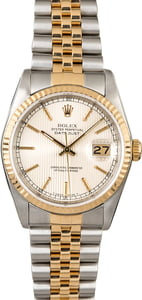 Rolex Datejust 16233 Silver Tapestry Index Dial