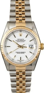 Men's Rolex Datejust 16233 White Index Dial