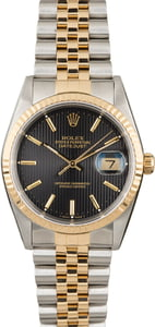 Rolex Datejust 16233 Black Tapestry Dial with Two Tone Jubilee