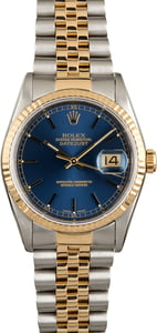 Rolex Datejust 16233 Blue Index Dial Two Tone Jubilee