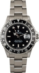 PreOwned Rolex GMT Master 16710 Black Luminous Dial